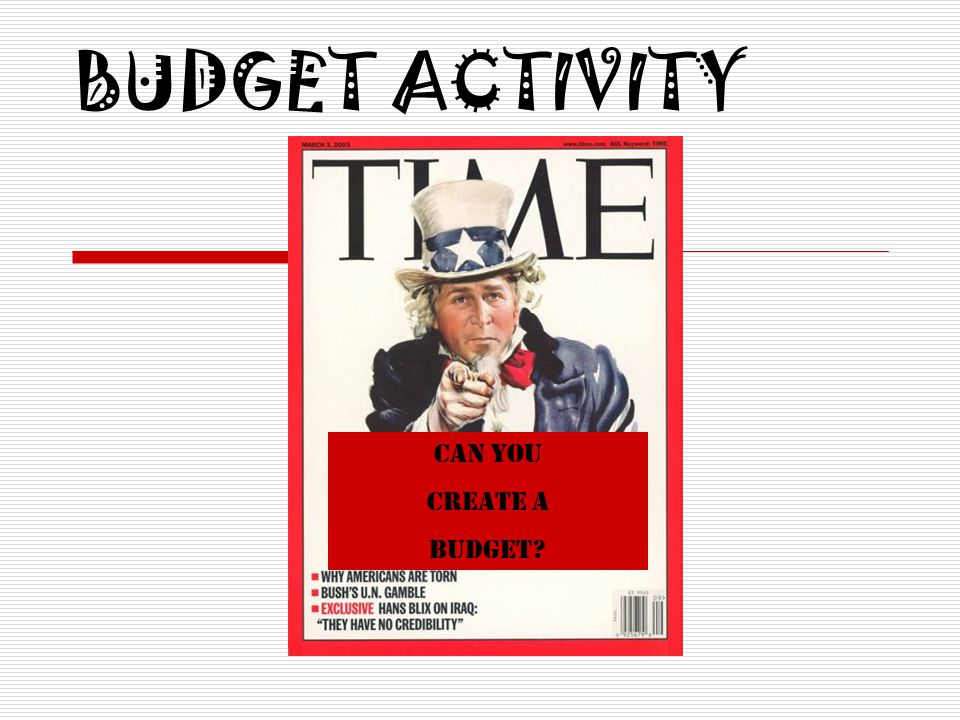 BUDGET ACTIVITY Can You Create a Budget