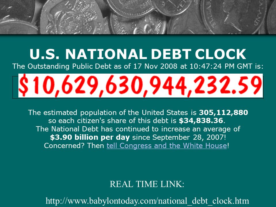 U.S. NATIONAL DEBT CLOCK The Outstanding Public Debt as of 17 Nov 2008 at 10:47:24 PM GMT is: The estimated population of the United States is 305,112