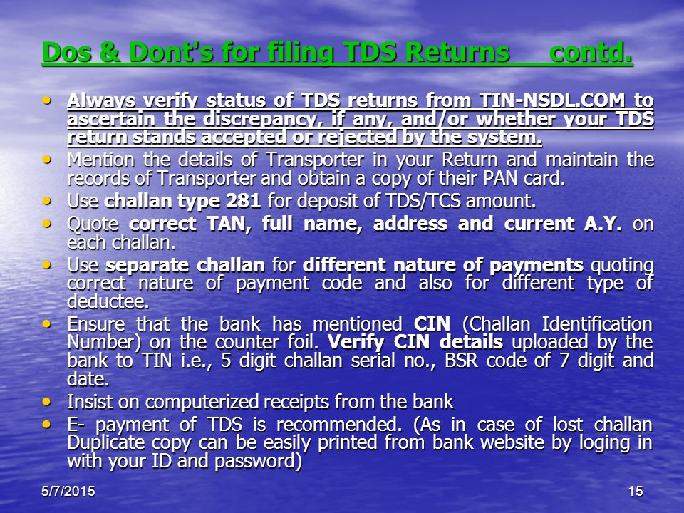 5/7/201515 Dos & Dont s for filing TDS Returns contd.