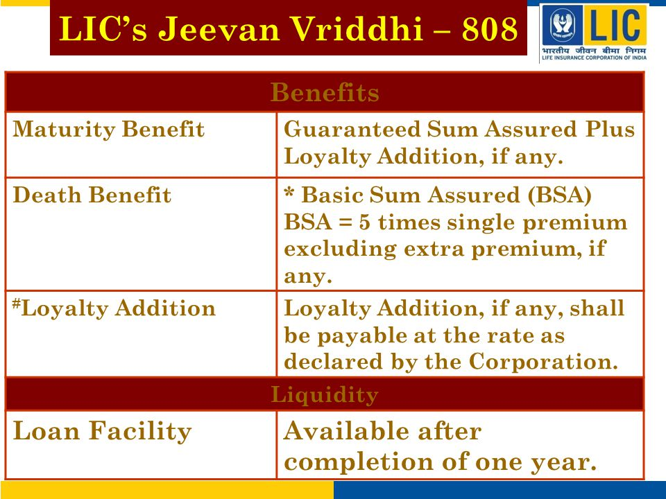 LIC's Jeevan Vriddhi – 808 Benefits Maturity BenefitGuaranteed Sum Assured Plus Loyalty Addition, if any.