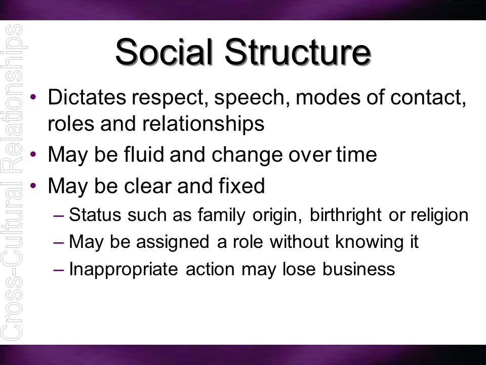 Social Structure Dictates respect, speech, modes of contact, roles and relationships May be fluid and change over time May be clear and fixed –Status