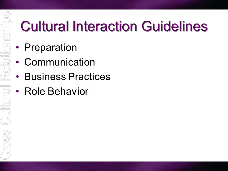 Cultural Interaction Guidelines Preparation Communication Business Practices Role Behavior