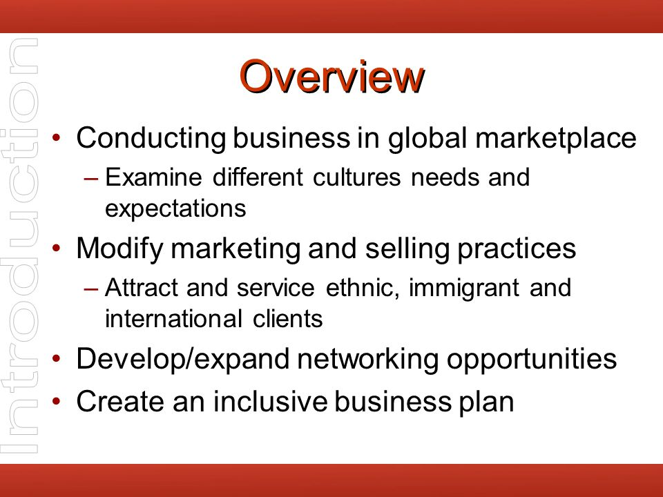 Formulate a Business Plan Components –Mission and goals –Strategies to attain goals –Action plans to implement strategies Identify variables –People –Resources –services Inclusive practice –Multicultural service philosophy –Diversity Strategic plans Practices Staffing –Culturally friendly community presence