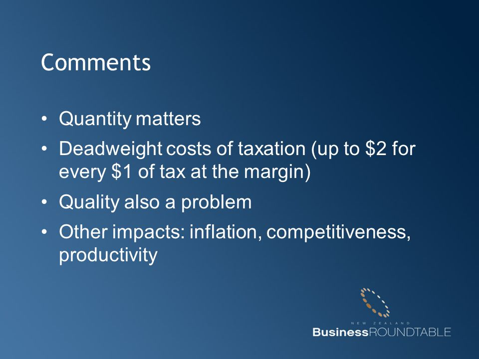 Comments Quantity matters Deadweight costs of taxation (up to $2 for every $1 of tax at the margin) Quality also a problem Other impacts: inflation, c