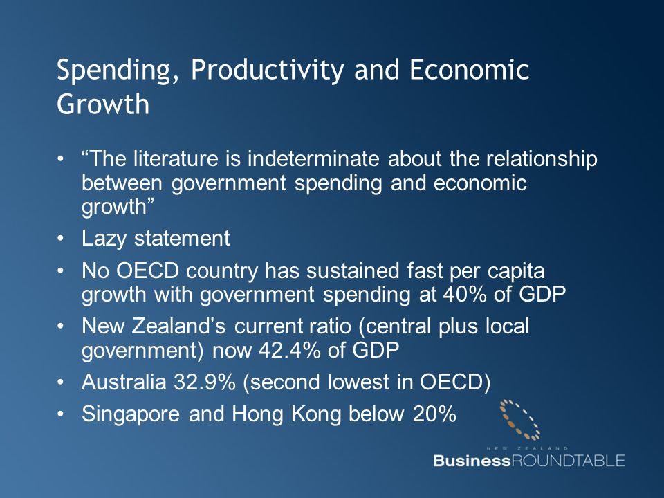 "Spending, Productivity and Economic Growth ""The literature is indeterminate about the relationship between government spending and economic growth"" La"