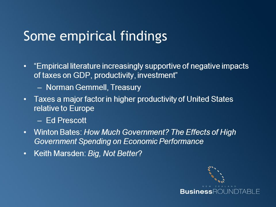 "Some empirical findings ""Empirical literature increasingly supportive of negative impacts of taxes on GDP, productivity, investment"" –Norman Gemmell,"