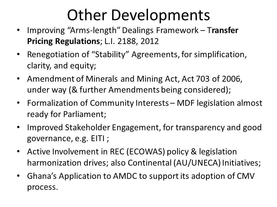 Other Developments Improving Arms-length Dealings Framework – Transfer Pricing Regulations; L.I.