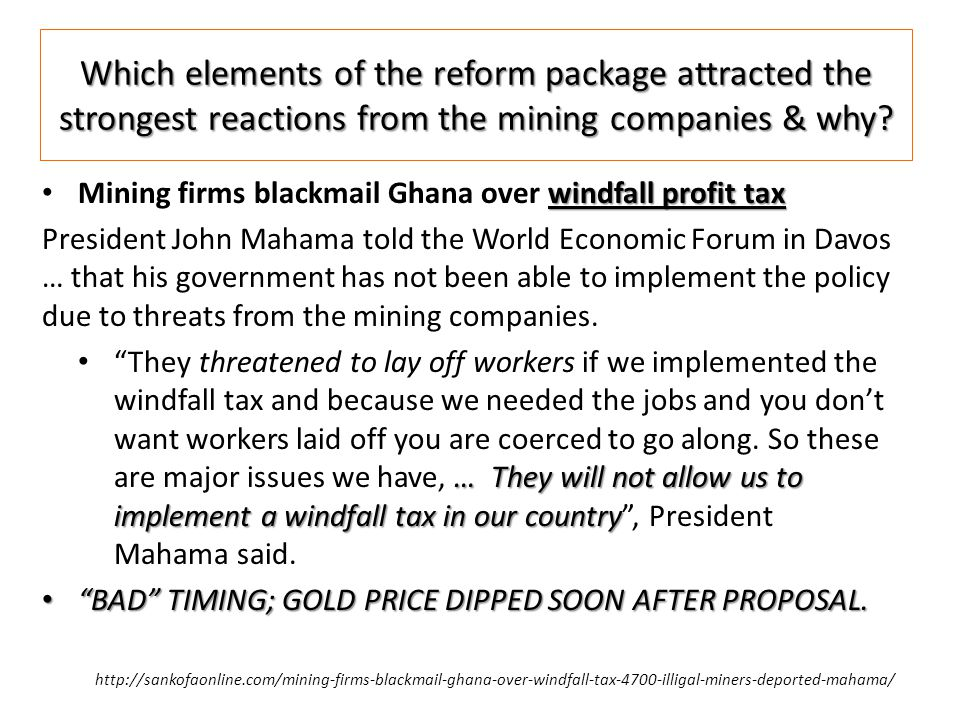 Which elements of the reform package attracted the strongest reactions from the mining companies & why.