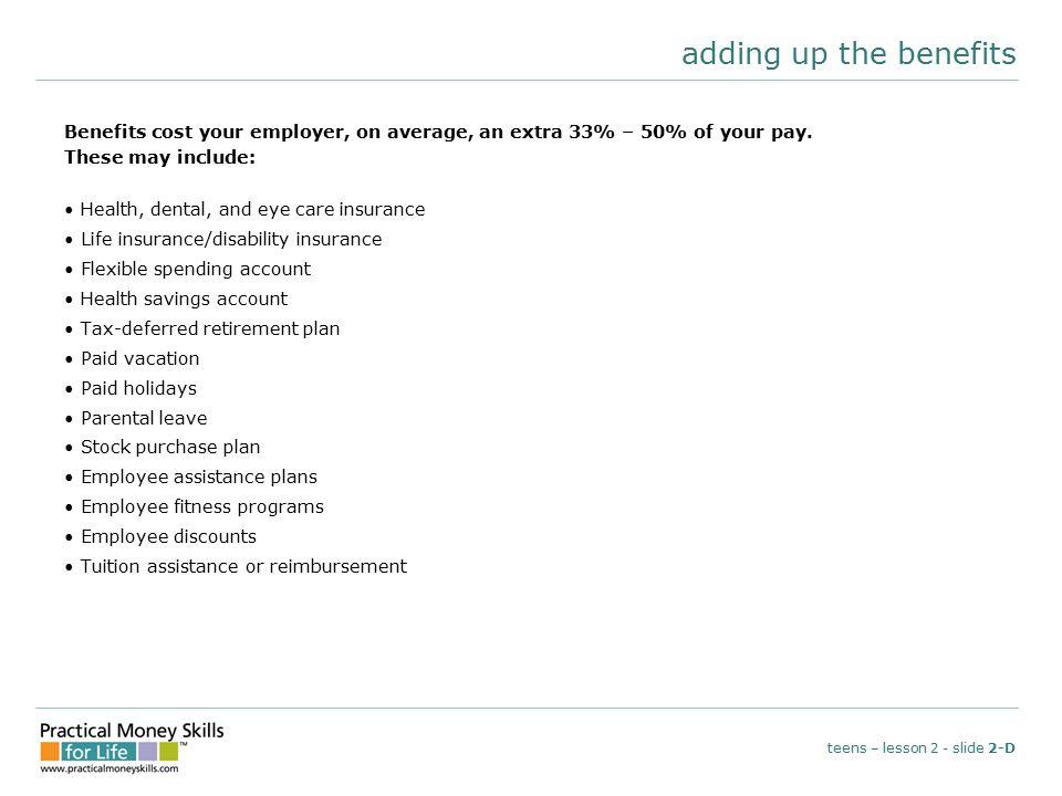 reading a pay stub teens – lesson 2 - slide 2-E