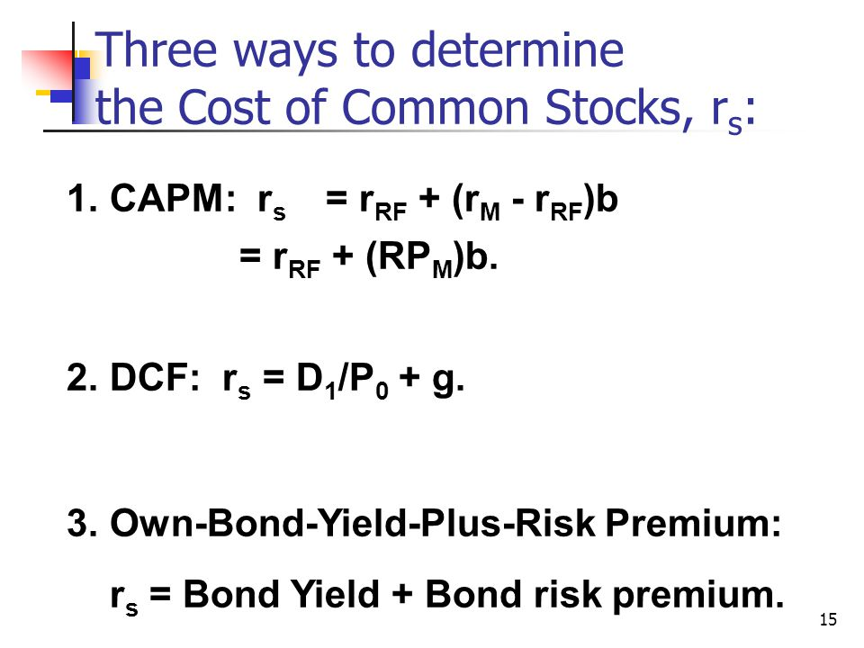 15 Three ways to determine the Cost of Common Stocks, r s : 1.CAPM: r s = r RF + (r M - r RF )b = r RF + (RP M )b. 2.DCF: r s = D 1 /P 0 + g. 3.Own-Bo