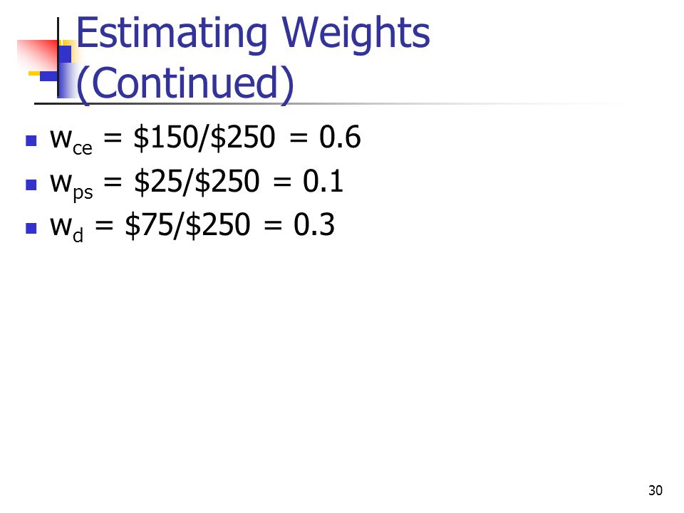 30 Estimating Weights (Continued) w ce = $150/$250 = 0.6 w ps = $25/$250 = 0.1 w d = $75/$250 = 0.3