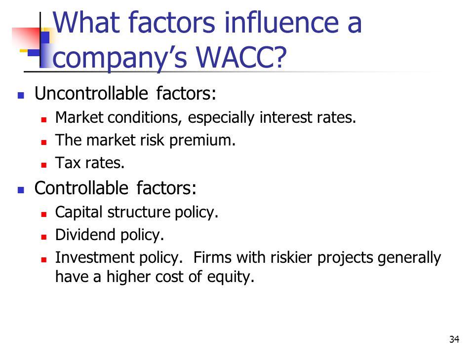 34 What factors influence a company's WACC? Uncontrollable factors: Market conditions, especially interest rates. The market risk premium. Tax rates.