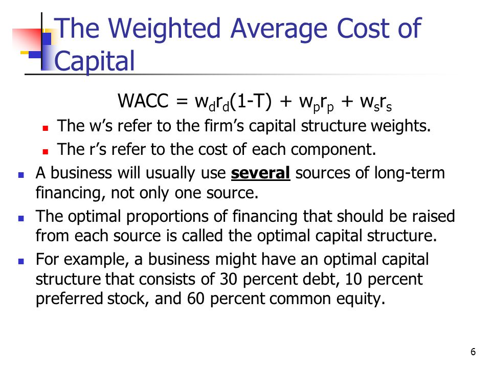 6 The Weighted Average Cost of Capital WACC = w d r d (1-T) + w p r p + w s r s The w's refer to the firm's capital structure weights. The r's refer t