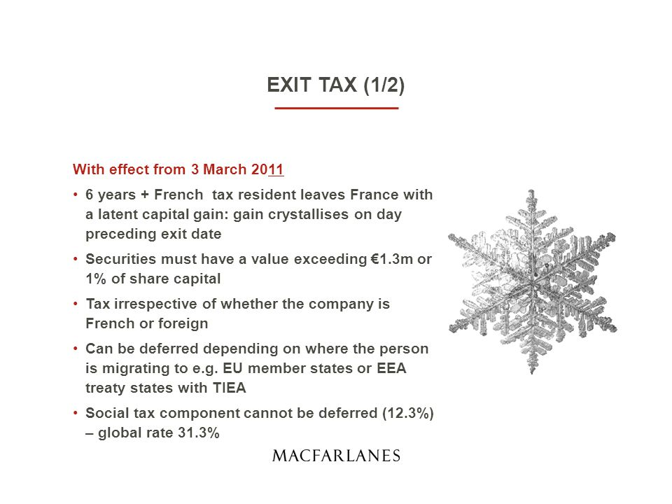 EXIT TAX (1/2) With effect from 3 March 2011 6 years + French tax resident leaves France with a latent capital gain: gain crystallises on day preceding exit date Securities must have a value exceeding €1.3m or 1% of share capital Tax irrespective of whether the company is French or foreign Can be deferred depending on where the person is migrating to e.g.