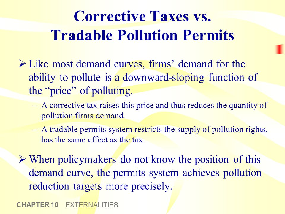 CHAPTER 10 EXTERNALITIES Corrective Taxes vs. Tradable Pollution Permits  Like most demand curves, firms' demand for the ability to pollute is a down