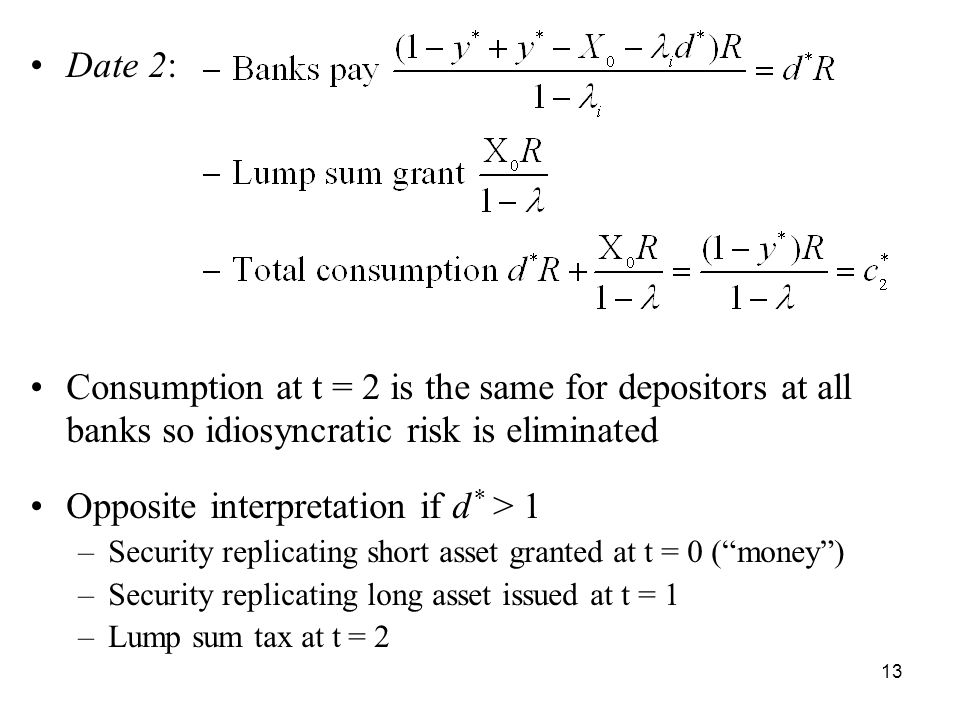 13 Date 2: Consumption at t = 2 is the same for depositors at all banks so idiosyncratic risk is eliminated Opposite interpretation if d * > 1 –Security replicating short asset granted at t = 0 ( money ) –Security replicating long asset issued at t = 1 –Lump sum tax at t = 2