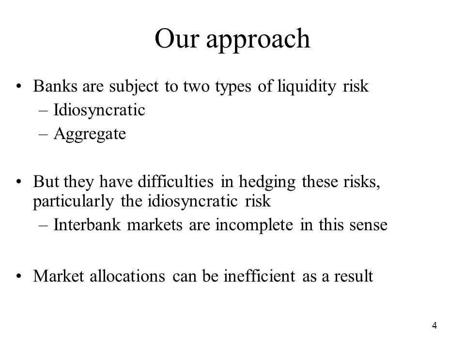 15 Both risks (η > 0, ε > 0) Interventions above can be combined to achieve the constrained efficient allocation Markets freeze (banks stop trading with each other) in state θ = 0 if ε > η but this is constrained efficient if the central bank is intervening optimally as above