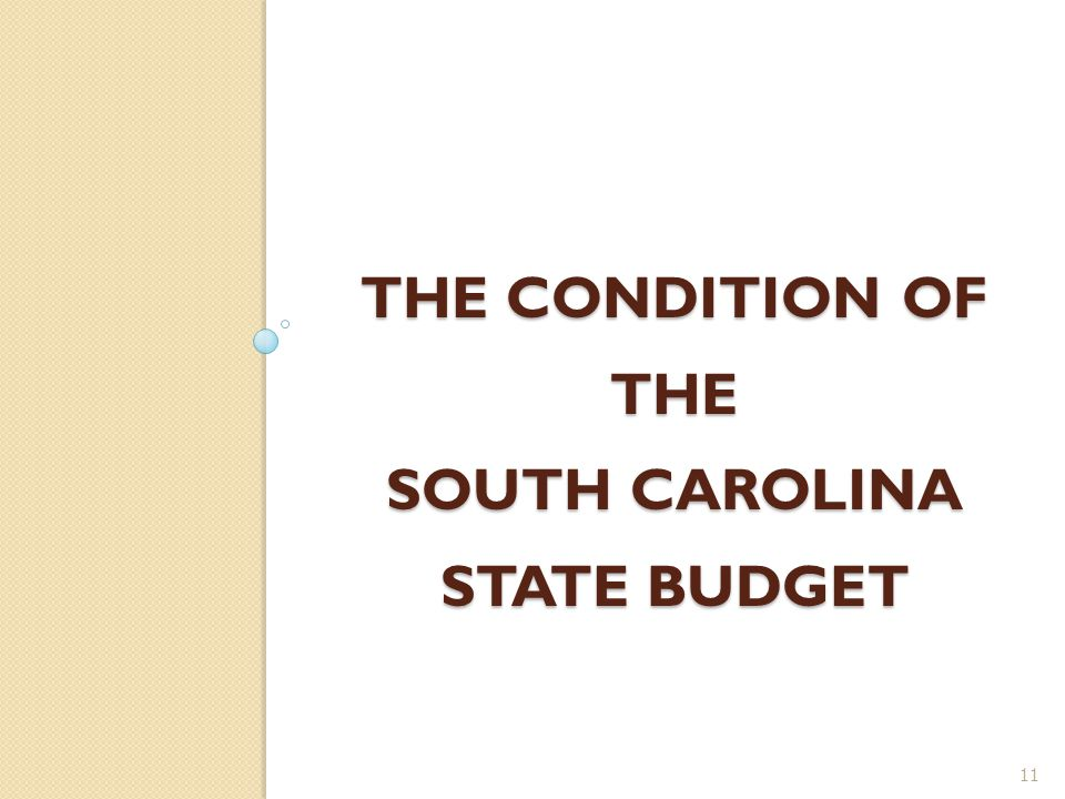THE CONDITION OF THE SOUTH CAROLINA STATE BUDGET 11