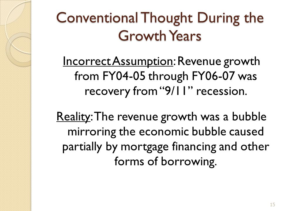 Conventional Thought During the Growth Years Incorrect Assumption: Revenue growth from FY04-05 through FY06-07 was recovery from 9/11 recession.