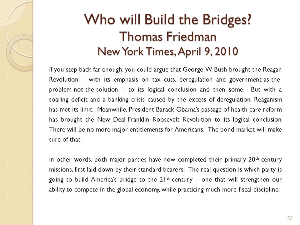 Who will Build the Bridges.