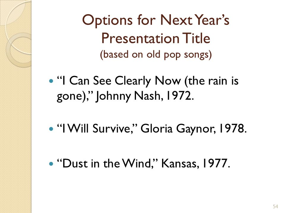 Options for Next Year's Presentation Title (based on old pop songs) I Can See Clearly Now (the rain is gone), Johnny Nash, 1972.