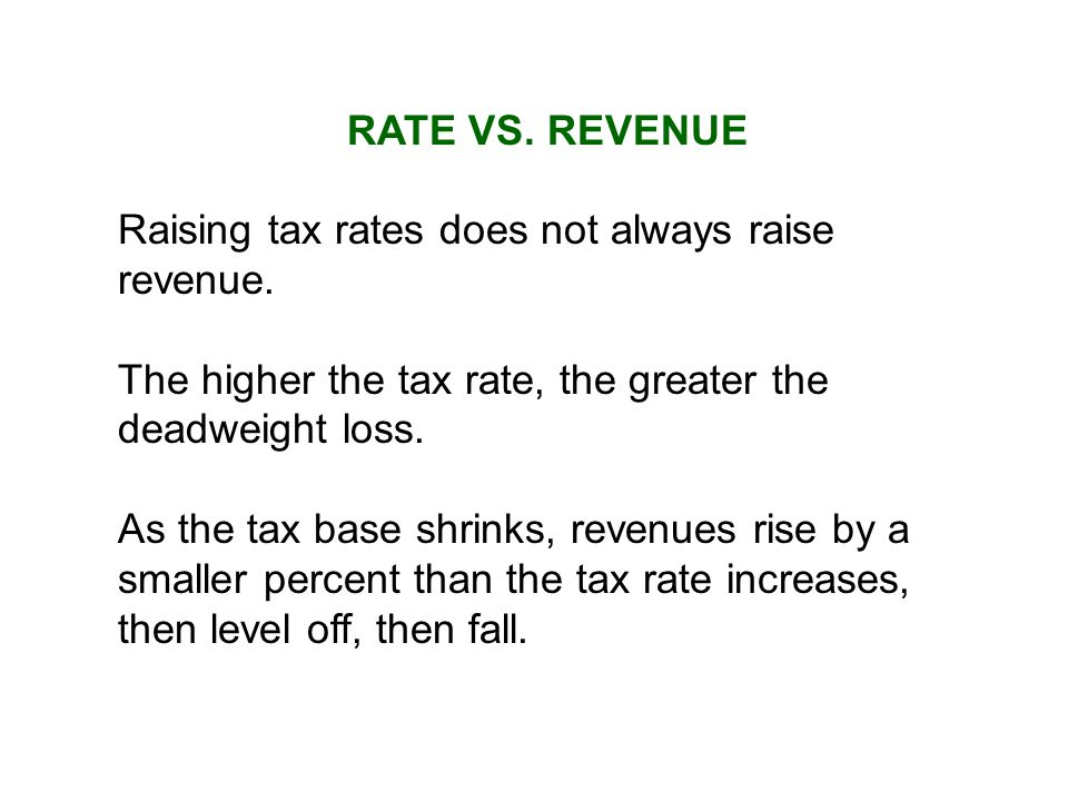 RATE VS.REVENUE Raising tax rates does not always raise revenue.