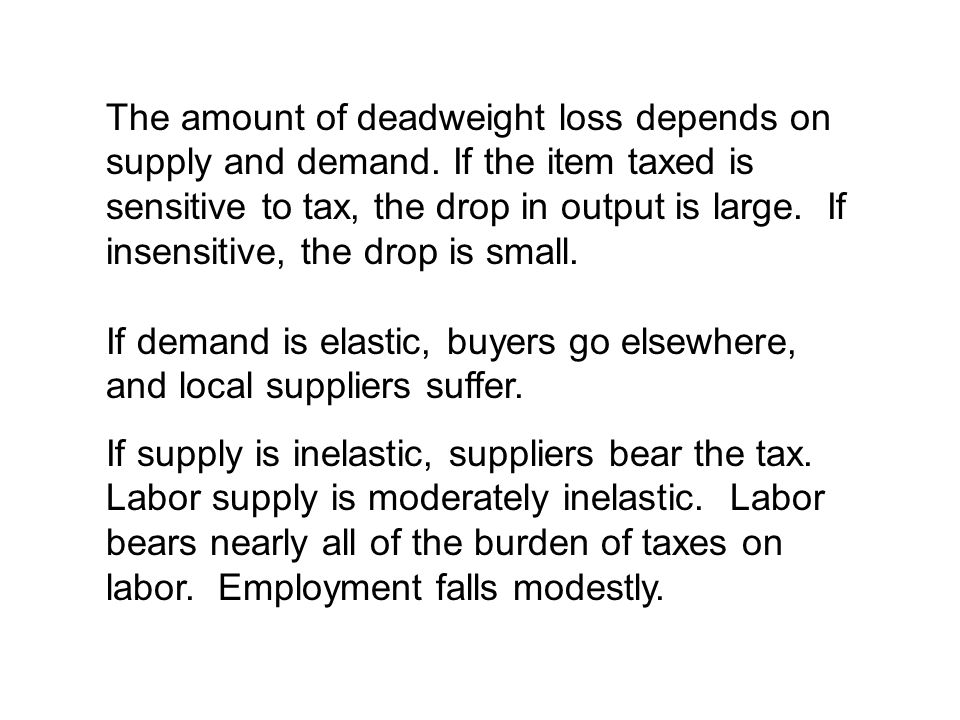 The amount of deadweight loss depends on supply and demand.