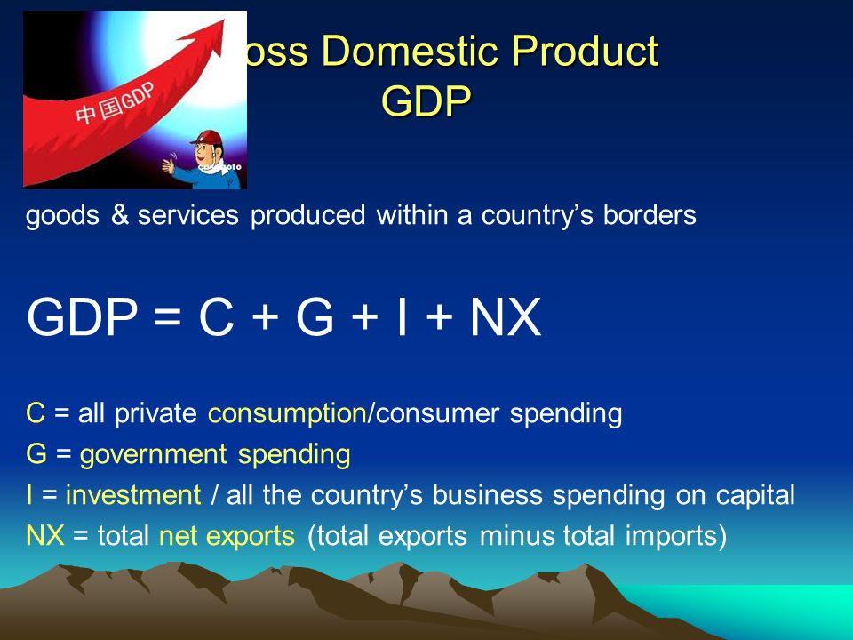 Gross Domestic Product GDP goods & services produced within a country's borders GDP = C + G + I + NX C = all private consumption/consumer spending G = government spending I = investment / all the country's business spending on capital NX = total net exports (total exports minus total imports)