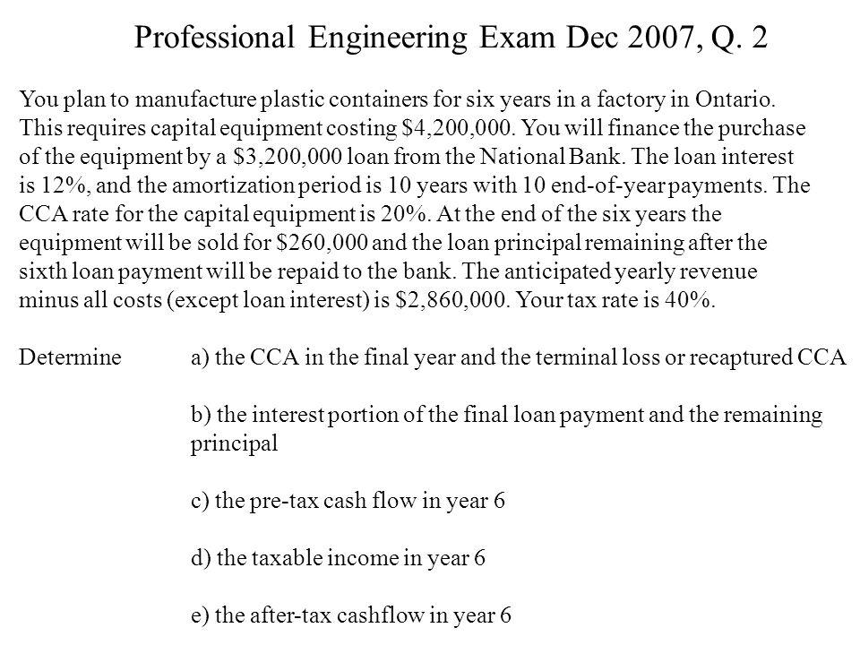 Professional Engineering Exam Dec 2007, Q.