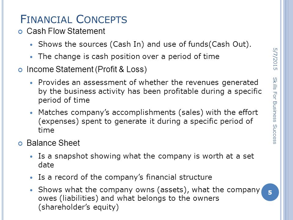 F INANCIAL C ONCEPTS Cash Flow Statement Shows the sources (Cash In) and use of funds(Cash Out).