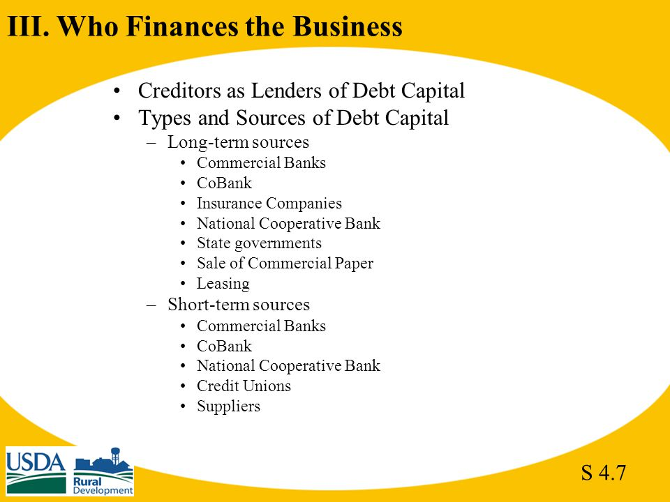 III. Who Finances the Business Creditors as Lenders of Debt Capital Types and Sources of Debt Capital –Long-term sources Commercial Banks CoBank Insur