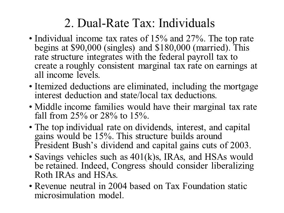 2. Dual-Rate Tax: Individuals Individual income tax rates of 15% and 27%.