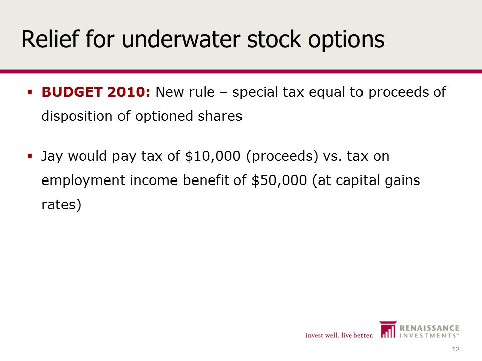 12 Relief for underwater stock options  BUDGET 2010: New rule – special tax equal to proceeds of disposition of optioned shares  Jay would pay tax of $10,000 (proceeds) vs.