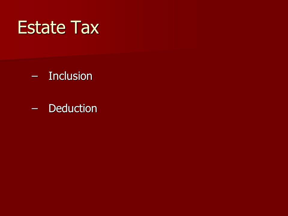 Estate Tax –Inclusion –Deduction