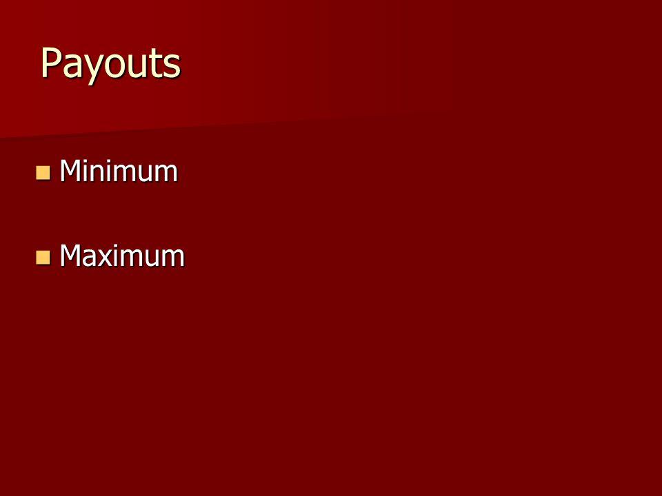 Payouts Minimum Minimum Maximum Maximum