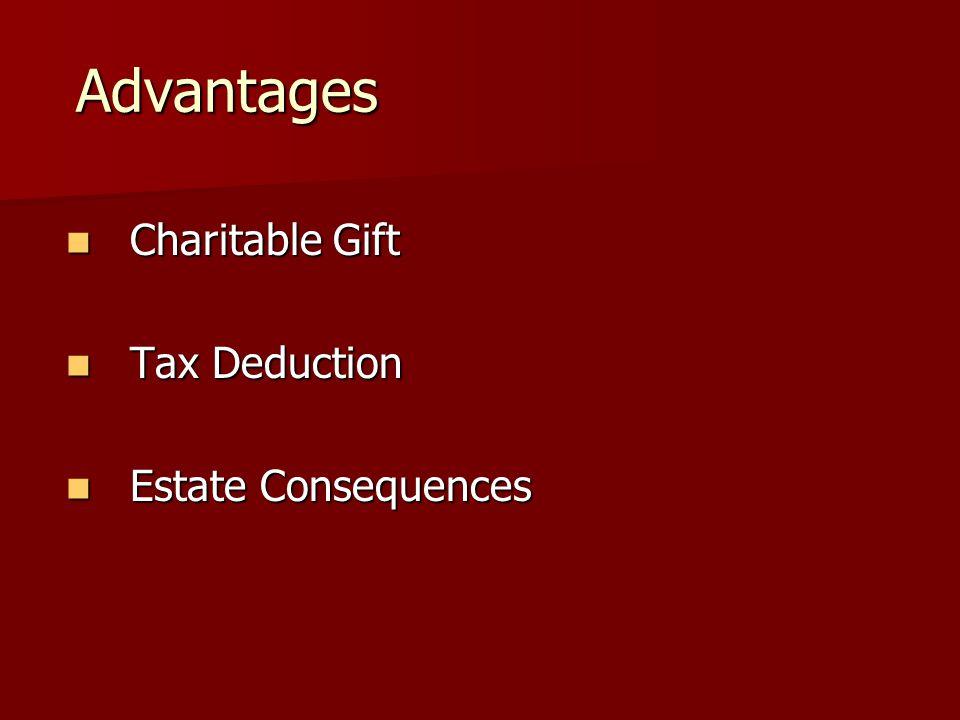 Advantages Advantages Charitable Gift Charitable Gift Tax Deduction Tax Deduction Estate Consequences Estate Consequences