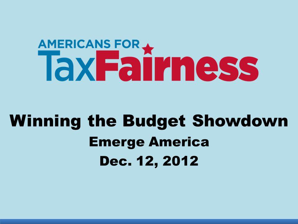 Winning the Budget Showdown Emerge America Dec. 12, 2012
