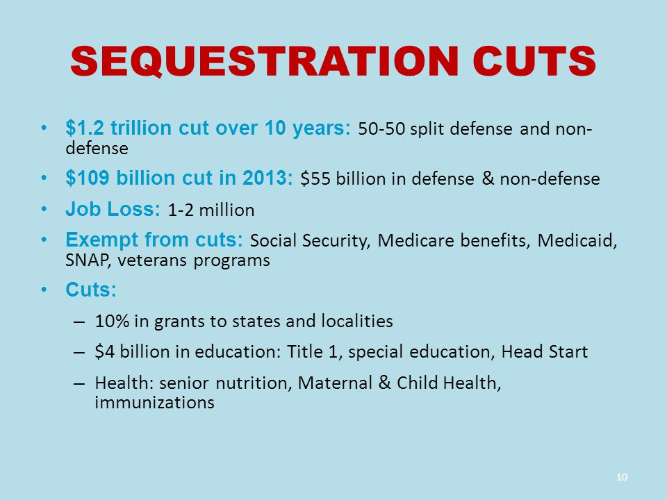 SEQUESTRATION CUTS $1.2 trillion cut over 10 years: 50-50 split defense and non- defense $109 billion cut in 2013: $55 billion in defense & non-defense Job Loss: 1-2 million Exempt from cuts: Social Security, Medicare benefits, Medicaid, SNAP, veterans programs Cuts: – 10% in grants to states and localities – $4 billion in education: Title 1, special education, Head Start – Health: senior nutrition, Maternal & Child Health, immunizations 10