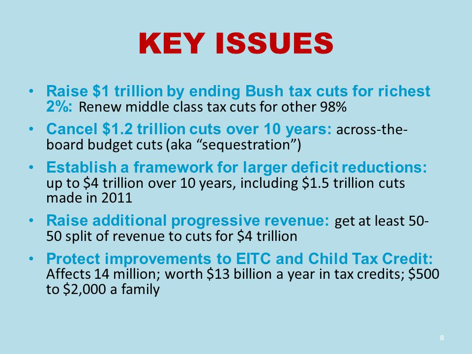 KEY ISSUES Raise $1 trillion by ending Bush tax cuts for richest 2%: Renew middle class tax cuts for other 98% Cancel $1.2 trillion cuts over 10 years: across-the- board budget cuts (aka sequestration ) Establish a framework for larger deficit reductions: up to $4 trillion over 10 years, including $1.5 trillion cuts made in 2011 Raise additional progressive revenue: get at least 50- 50 split of revenue to cuts for $4 trillion Protect improvements to EITC and Child Tax Credit: Affects 14 million; worth $13 billion a year in tax credits; $500 to $2,000 a family 8