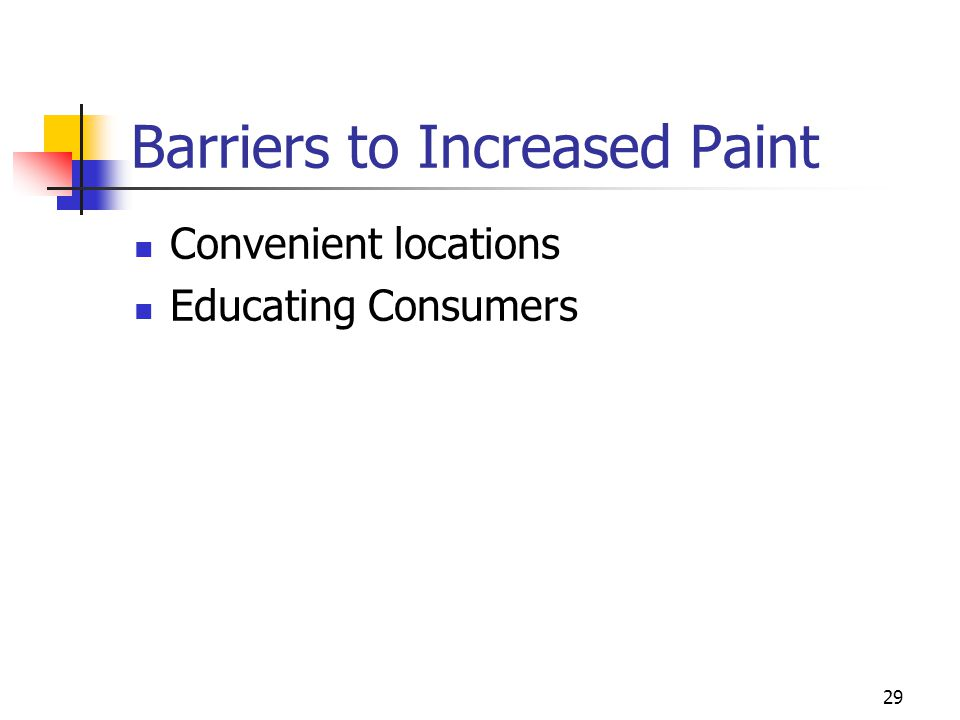 29 Barriers to Increased Paint Convenient locations Educating Consumers