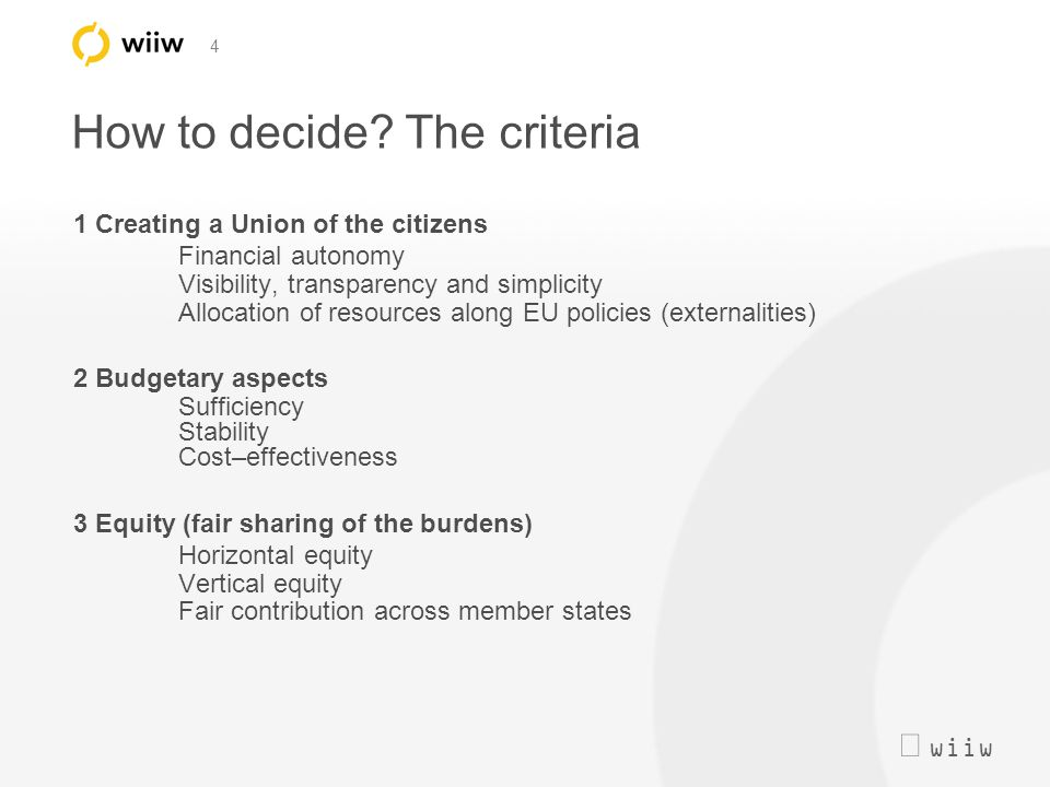  wiiw 4 How to decide? The criteria 1 Creating a Union of the citizens Financial autonomy Visibility, transparency and simplicity Allocation of reso
