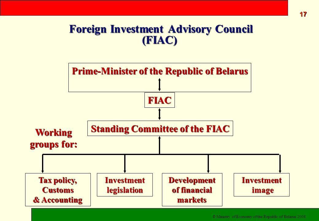 Foreign Investment Advisory Council (FIAC) Foreign Investment Advisory Council (FIAC) Prime-Minister of the Republic of Belarus FIAC Standing Committee of the FIAC Development of financial markets Tax policy, Customs & Accounting Investment image image Investment legislation Working groups for: 17171717 © Ministry of Economy of the Republic of Belarus 2008