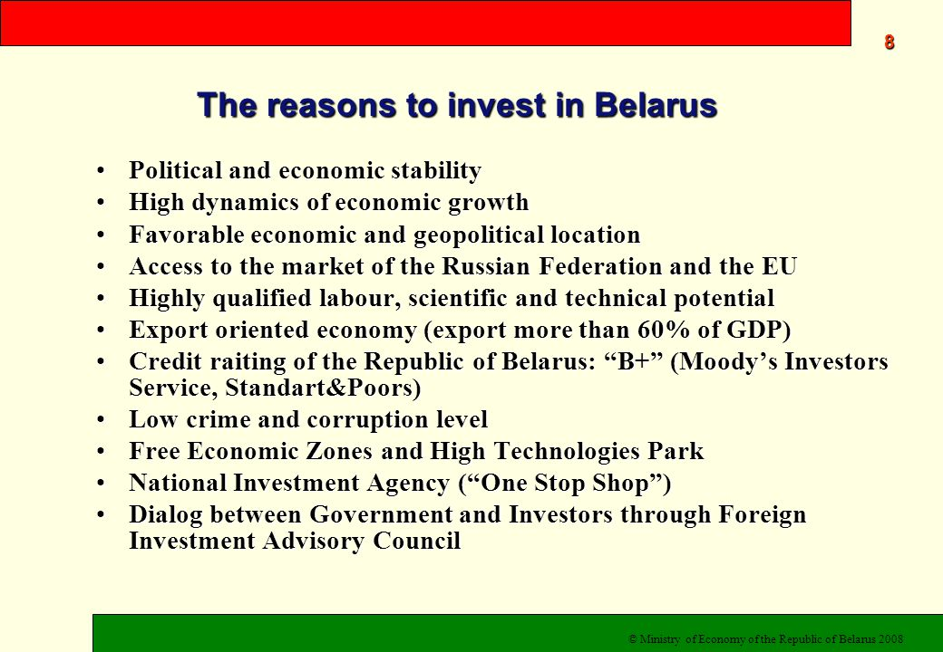 19 Ministry of Economy of the Republic of Belarus www.economy.gov.by National investment site www.invest.belarus.by Welcome to co-operation.