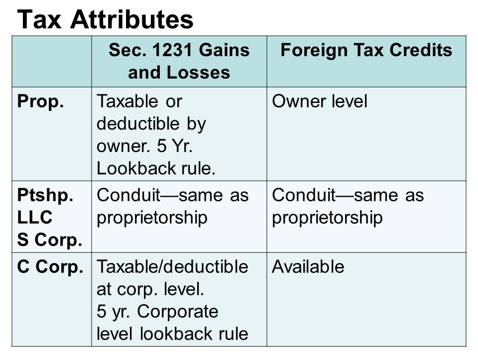 Tax Attributes Sec. 1231 Gains and Losses Foreign Tax Credits Prop.Taxable or deductible by owner.