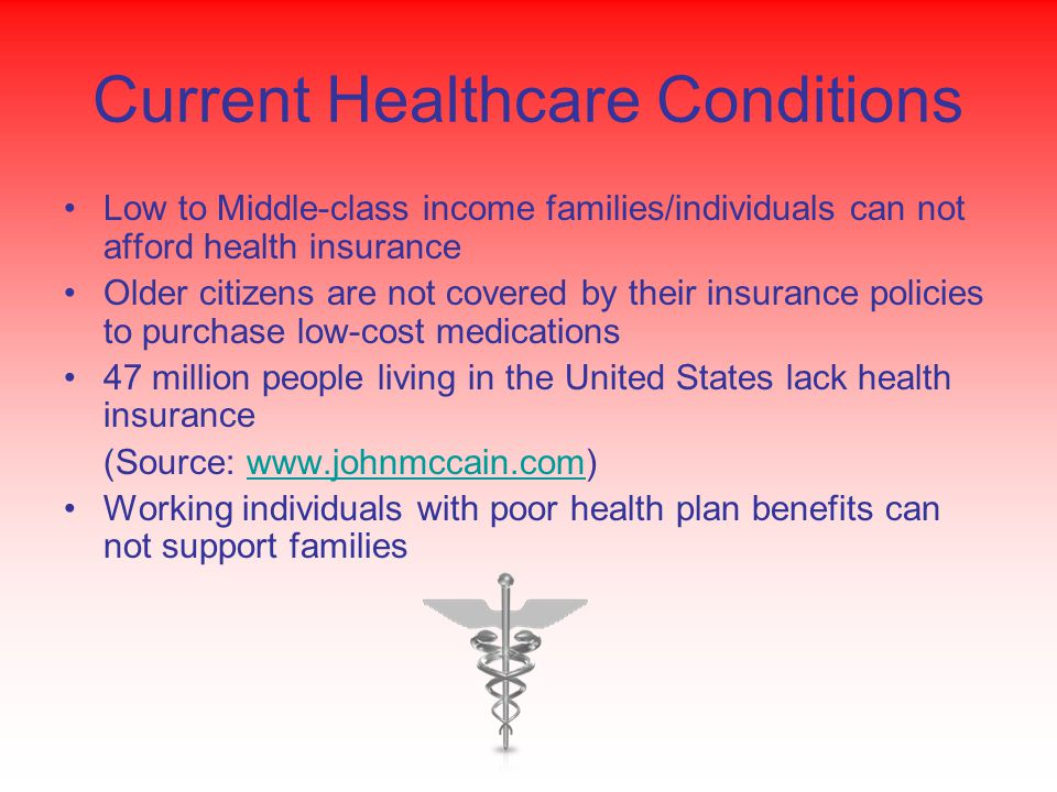 Current Healthcare Conditions Low to Middle-class income families/individuals can not afford health insurance Older citizens are not covered by their insurance policies to purchase low-cost medications 47 million people living in the United States lack health insurance (Source: www.johnmccain.com)www.johnmccain.com Working individuals with poor health plan benefits can not support families