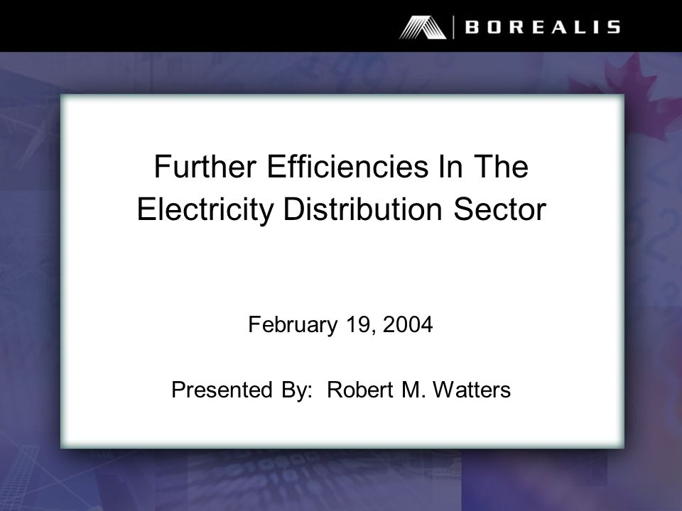 Further Efficiencies In The Electricity Distribution Sector February 19, 2004 Presented By: Robert M.