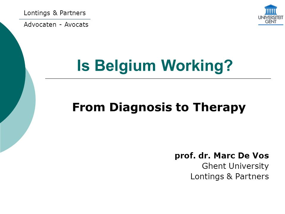 Is Belgium Working. From Diagnosis to Therapy prof.