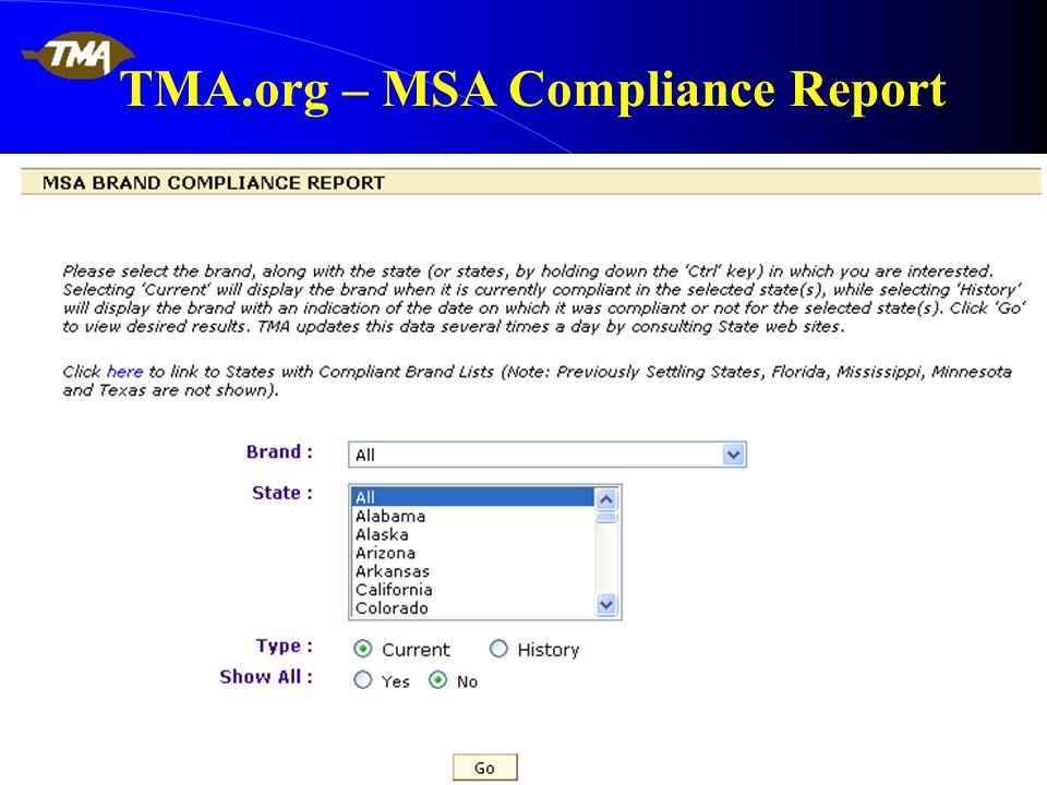 TMA.org – MSA Compliance Report