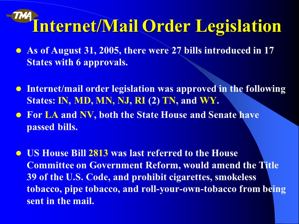 Internet/Mail Order Legislation As of August 31, 2005, there were 27 bills introduced in 17 States with 6 approvals.