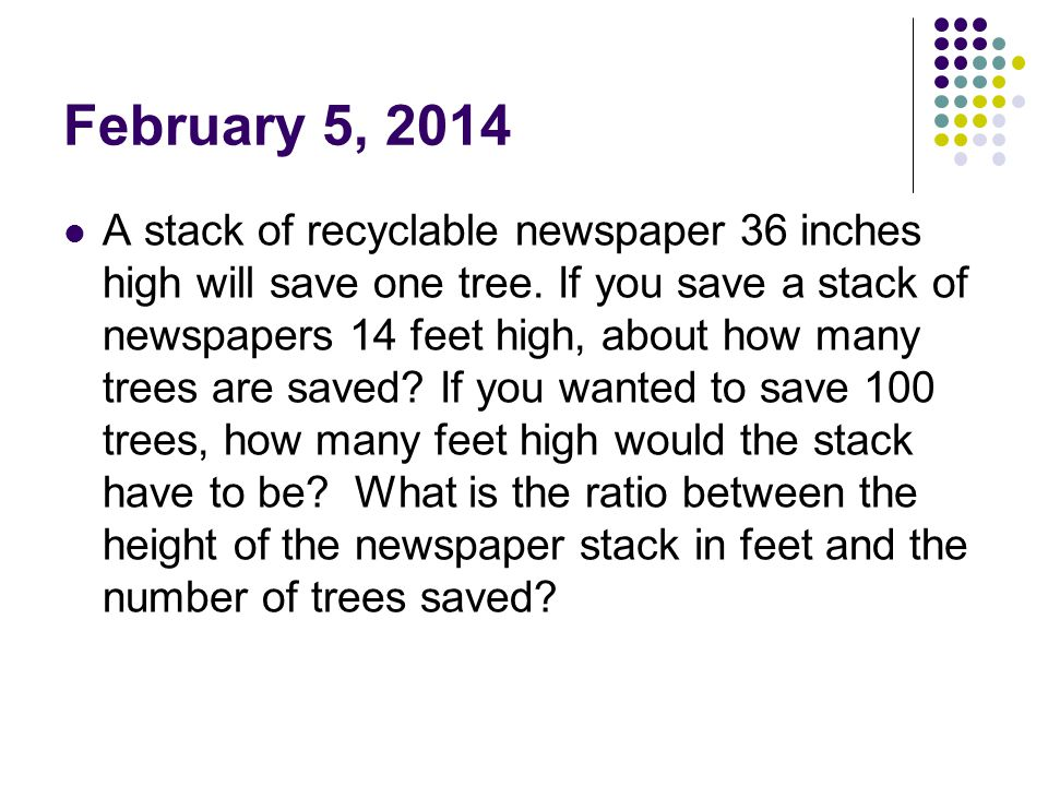 February 5, 2014 A stack of recyclable newspaper 36 inches high will save one tree.